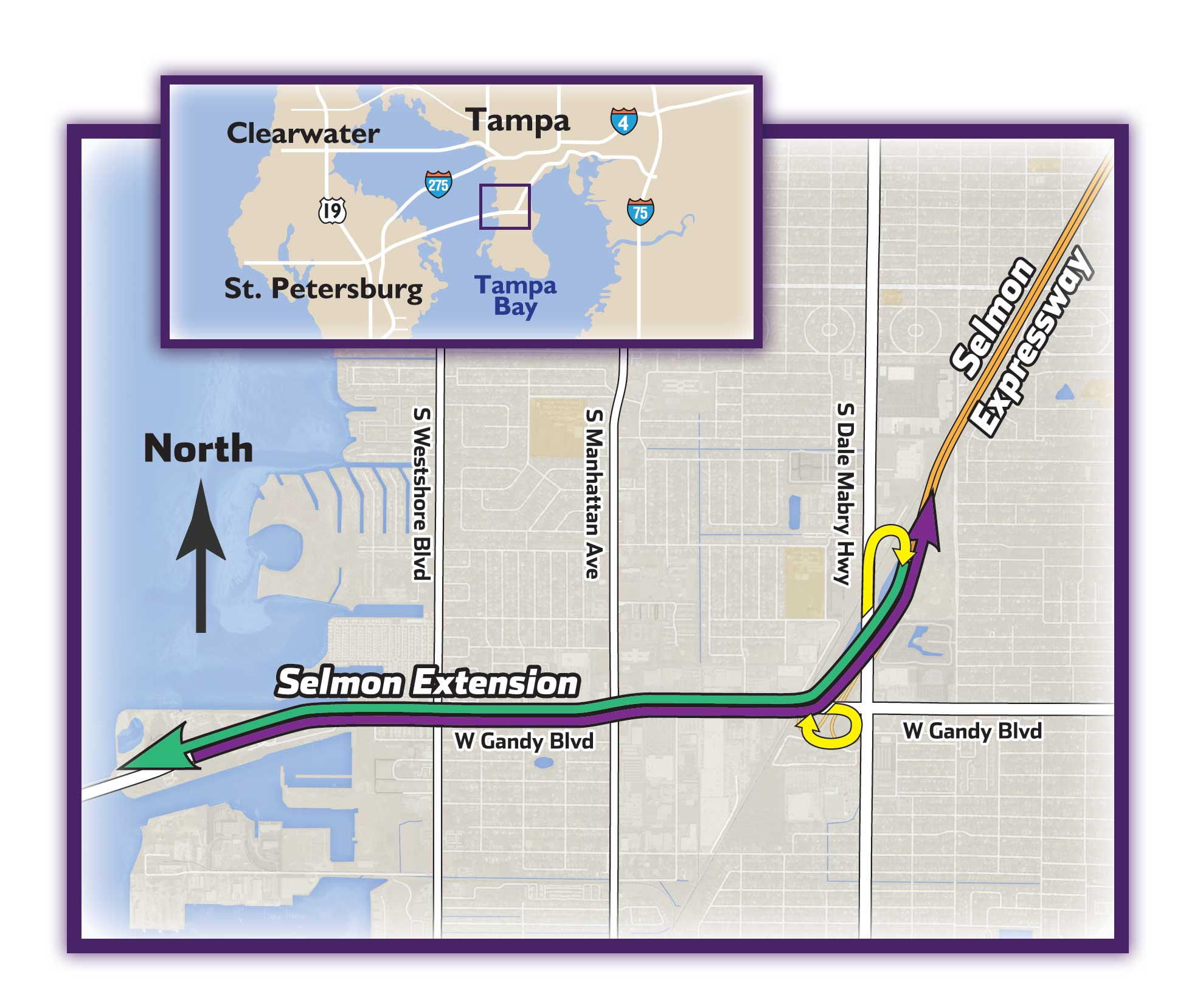 Typical Section & Maps   The Selmon Extension on map of hwy 301, map of dulles greenway, map of indiana toll road, map of dulles toll road, map of suncoast parkway,